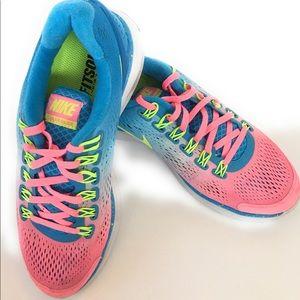 Nike lunar glide, Sz 7.5, Pink, Blue, Green